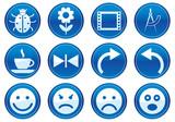 Gadget icons set. Blue - white palette. Vector illustration. poster