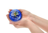 joined hands holding globe, shallow DOFShallow DOF poster