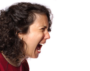 Portrait of a woman yelling her head off