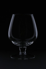 empty glass over a black background