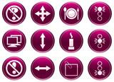 Gadget icons set. Purple - white palette. Vector illustration. poster