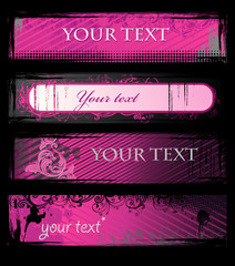 Set of pink grunge floral banners
