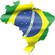 Flag on Brazil Map