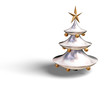 3D Christmas tree with star and baubles