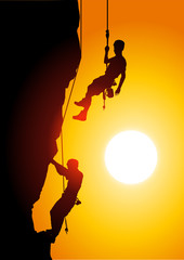 Climbing at sunset