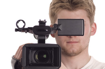 teenager with video camcorder isolated on white.