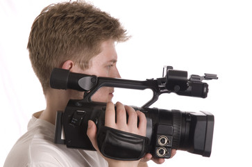 vector image of man with camcorder isolated on white