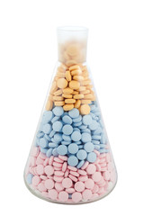 flask with drugs and pills