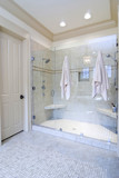 minimalist bathroom with large glass and tile shower poster