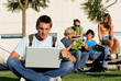 college kids or students with laptop