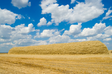 yellow stack of straw on a background blue sky with clouds
