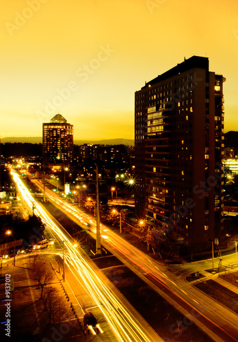 canvas print picture The City of Santiago, Chile at Sunset
