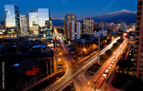 canvas print picture Busy traffic in Santiago, Chile with the Andes in the background
