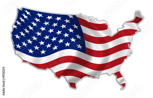 USA flag map high res