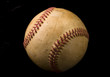 Closeup of an old baseball on a black background