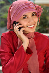 Muslim Woman on the Phone