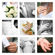 Creative collage composed of nine wedding moments