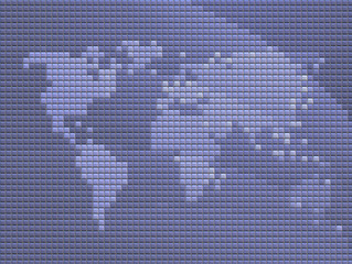 Map of the world in mosaic tiled style