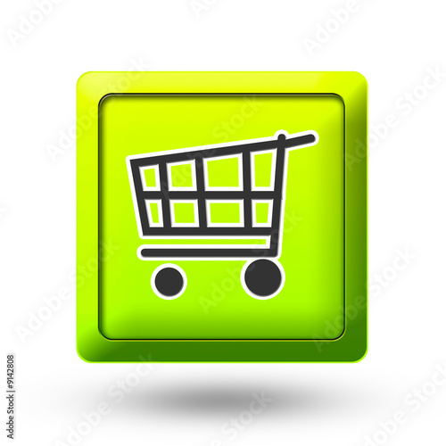 Green Shopping cart icon button