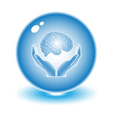 Protection of brain. Vector brain illustration. Simply change.