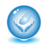 Protection of heart. Vector heart illustration. Simply change.