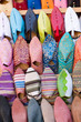 Colorful arabic shoes alignment in a shop