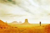 Grunge image of Monument Valley landscape.