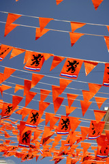 Orange flags supporting Dutch team