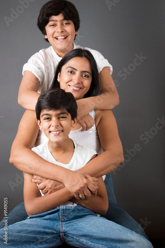An Indian mother with her two sons