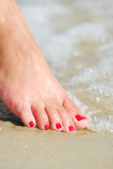 Body care.  Woman foot  in the  water. Health Spa.