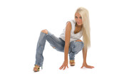 Attractive girl stay and bend leg in the knee poster