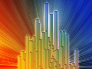 Abstract illustration wallpaper of 3d geometric columns