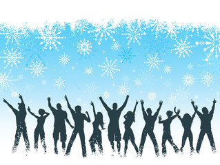 Silhouettes of people dancing on snowflake background