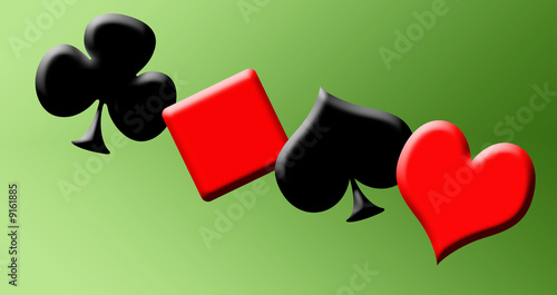 2D poker symbol isolated on a green background