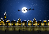 Fototapety Santa Claus in the Christmas night and happy people
