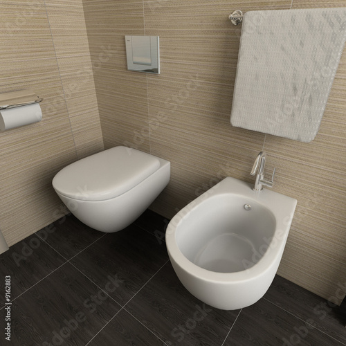 Modern design interior of bathroom. 3D render