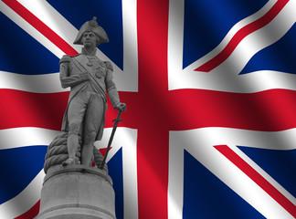 Statue of Nelson Trafalgar Square against British Flag