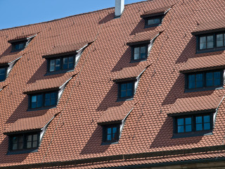 Traditional houses in Nuremberg Europe. Roof detail.