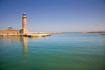 venetian lighthouse of rethimno in the island of crete, greece