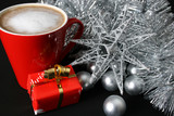 Christmas morning foam coffee with silver decorations poster