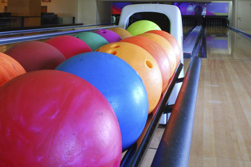close-up of the colored bowling balls