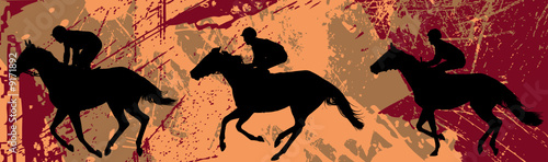 jockeys and horse  over grunge background