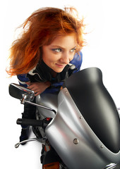 Moto redhead girl over white