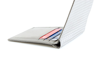 Credit cards in wallet made of stainless steel fibers