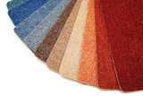 Samples of color of a carpet covering.