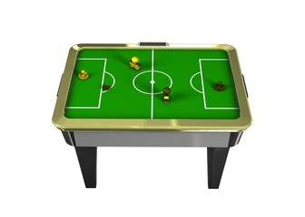 tabletop air hockey yellow and black on white background