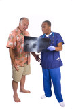 Doctor explaining results of x-ray to surprised patient poster