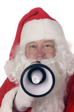 Pleasant middle-aged bearded man in a santa suit poster
