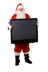Pleasant middle-aged bearded man in a santa suit with TV