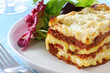 Beef lasagne with salad.  Melting mozzarella and ricotta